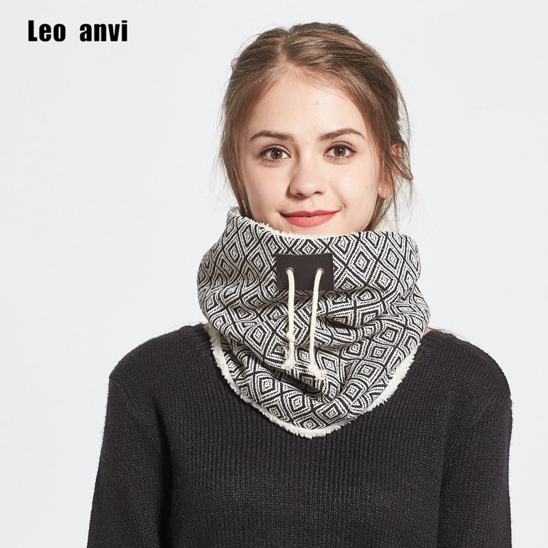 Leo anvi Faux fur scarf women men Canvas faux fur double super warm plaid tube scarves fashion accessories winter ring scarf