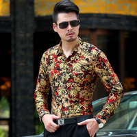 2017 Men Shirt Luxury Brand Long Sleeve Shirts Mens Floral Casual Personalized Printing Slim Fit Dress