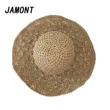 Nueva moda sombrero de paja mujeres señora ganchillo hecho a mano sombrero  grande playa verano viaje 5dd77594cc7