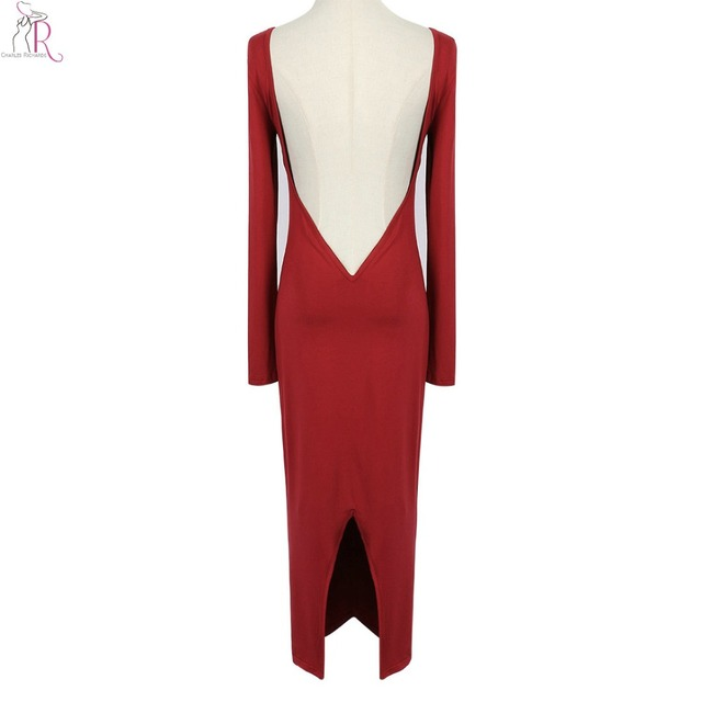 Women Midi Bodycon Dress Red Party Backless Back Split Long Sleeve Sexy Casual Club 2017 Fashion New