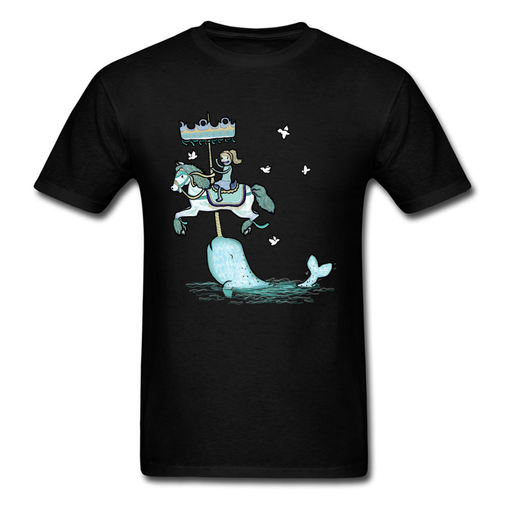 Interesting T-Shirts Men Crew Neck Leisure Narwhal Carousel Graphic T Shirt For Student Cute Model Modern Tshirt Cartoon