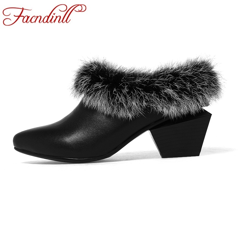 FACNDINLL women shoes 2017 new fashion real fur black genuine leather shoes woman pumps med heel pointed toe dress party pumps facndinll shoes 2018 new fashion genuine leather women pumps med heels pointed toe shoes woman dress party casual black pumps