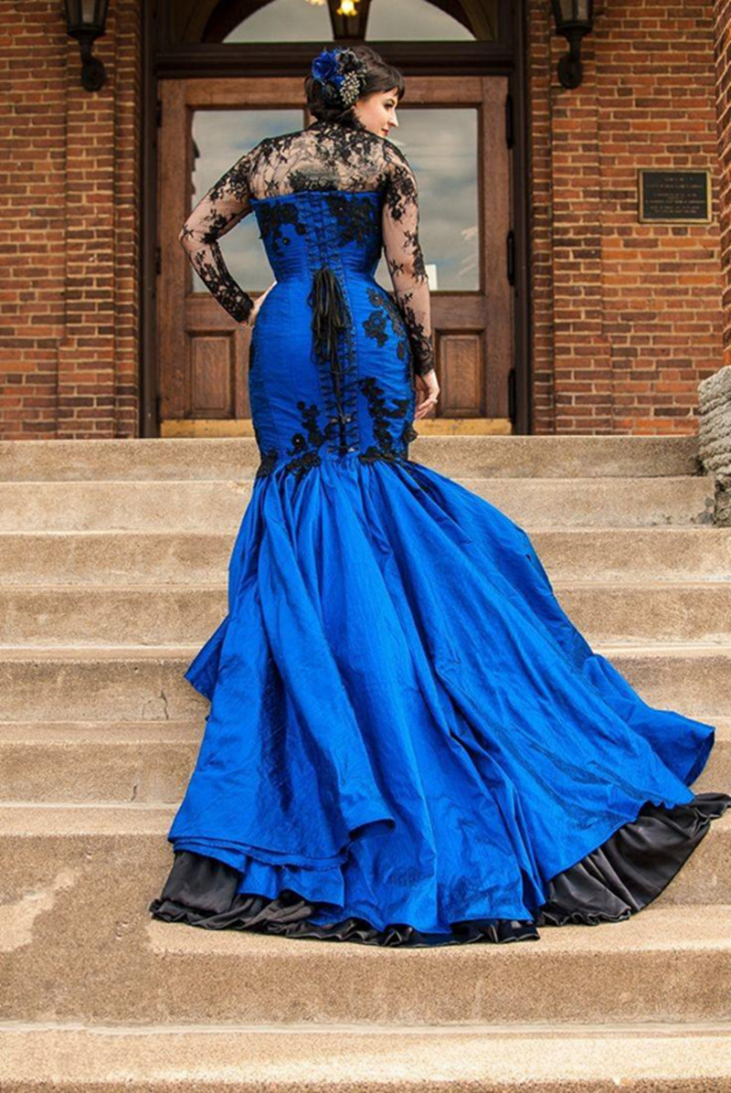 Fashion week Black Gothic and blue wedding dresses for woman