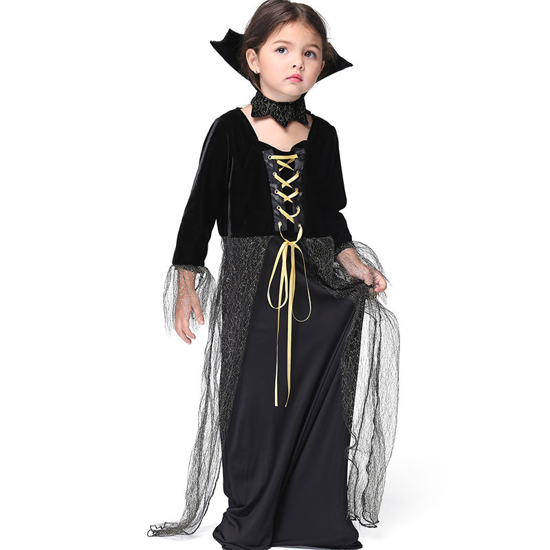 Witch Halloween Costume for Kids Long Dress Mesh Children Fancy Show Dress Cosplay Costumes Children Party Girls Clothing Black лампа светодиодная uniel led c35 6w ww e14 fr pls02wh 10шт