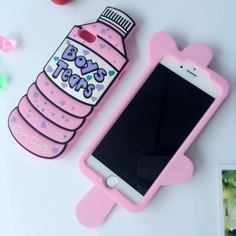 quality design 93c94 c7b3b Case Dolls Bottle for iPhone 5 5s 6 6s Plus 7 8 X 4s 4 SE Case Lick Me Boys  Tears Popsicle Phone Back Cover