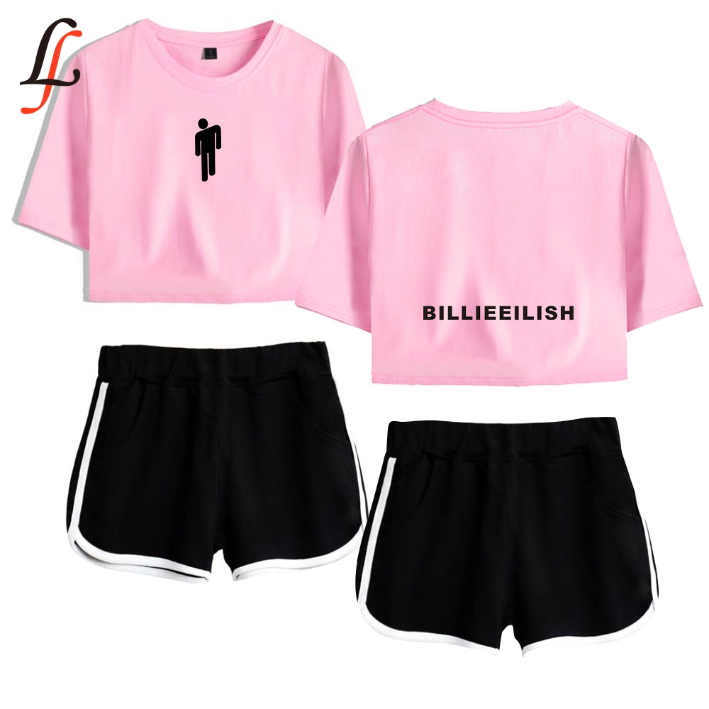 Billie Eilish Harajuku Modis Women Sexy Two Piece Set Short Sleeve Short Tops And Middle Waist Shorts Suits Fitness