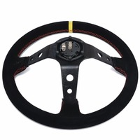 New 350mm Racing Steering Wheel 13 8 Inch Deep Dished Sport Suede Leather Alloy Spoke Car