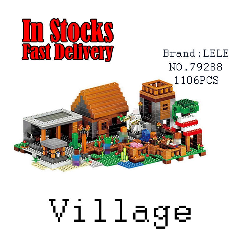 LELE 79288 1106pcs My World The Village marketplace adventures Steve action figures Building Blocks Toys for children gift 21128