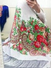 Россия Стиль Национальный Дизайн Новая Мода Женщин Хлопка Печать С Четырех Сторон Кисточкой Большой Здание Пра Шарф, Шаль Негабаритных Wrap(China (Mainland))