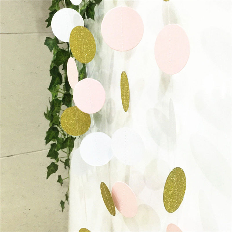 10 Feet  Pink White and Gold Glitter Circle Polka Dots Paper Garland Banner Streamers Bridal Shower Wedding Hanging Decor