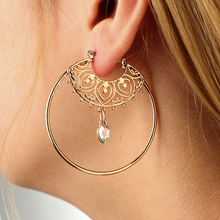 VAROLEV Vintage Antique Gold Crystal Circle Hollow Carving Dangle Earrings for Women Punk Alloy Drop Earrings Jewelry 4368