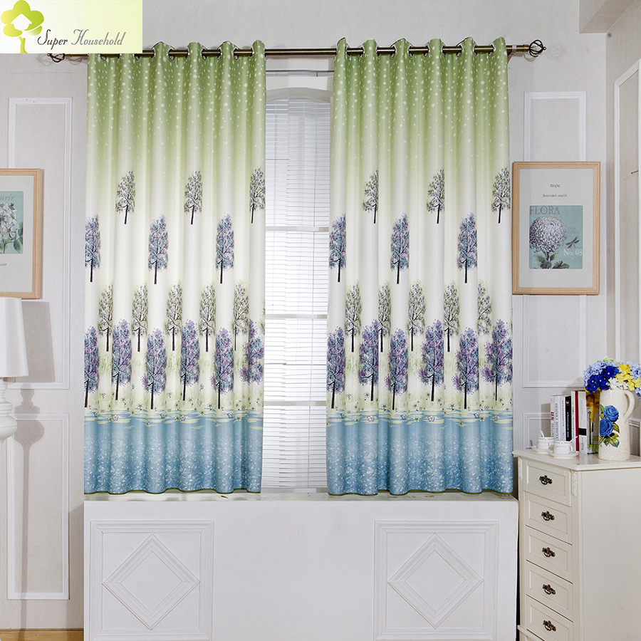 Lavender Printed Short Curtains For Kitchen Window