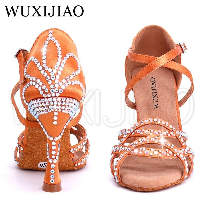 WUXIJIAO Ladies Latin dance shoes with Brown satin rhinestone style high heels salsa dancing shoes Comfortable soft heel 9cm
