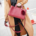 Luxury women bag fur ball women leather handbag ladies messenger bag handbags fashion brand high quality shoulder bag