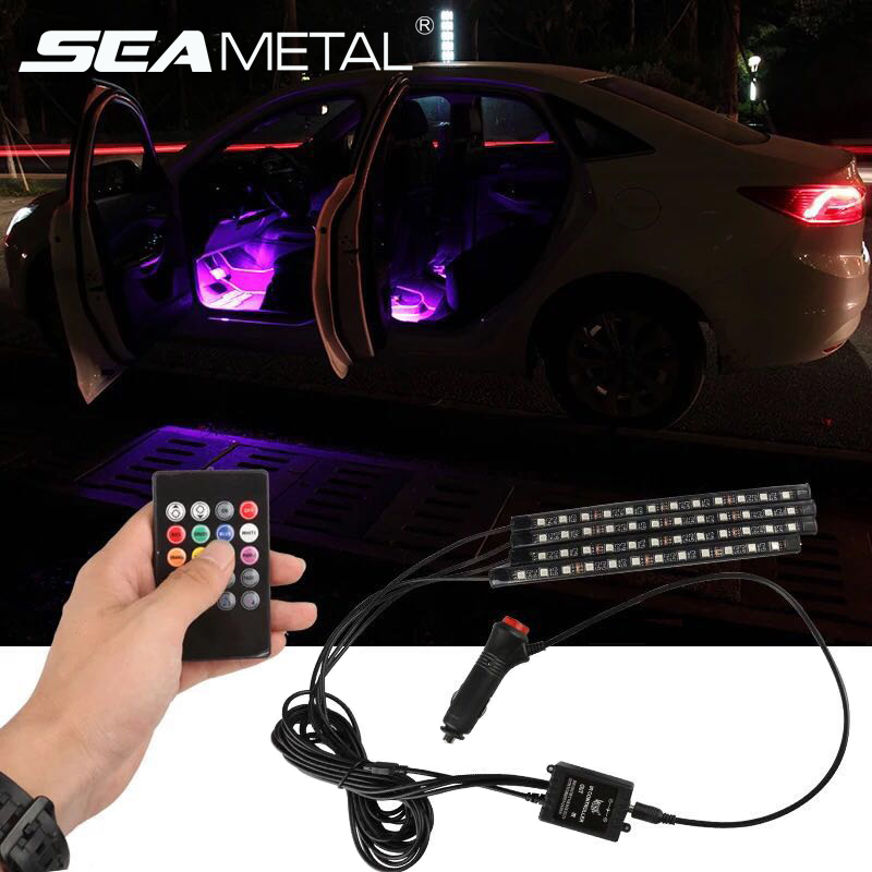 Car LED Strip Light,4pcs 7 Color RGB Exotic and Romantic LED Car Interior Lights 12V DC Colorful Atmosphere Neon Light Decoration Accessories for Car Front,Back /& Foot