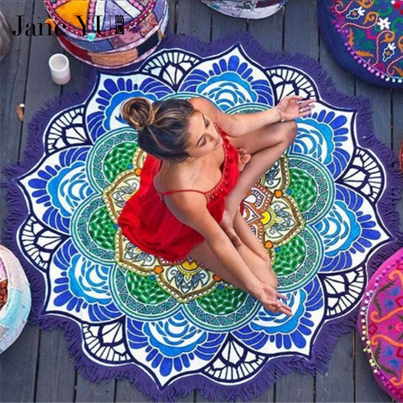 latest fashion preview of wholesale price US $14.4 40% OFF|JaneYU Beautiful Round Polygonal Beach Towel Tassel  Colorful Yoga Mat Sun Cape Wrapped Multi functional Women Bath Beach Rug-in  Rug ...
