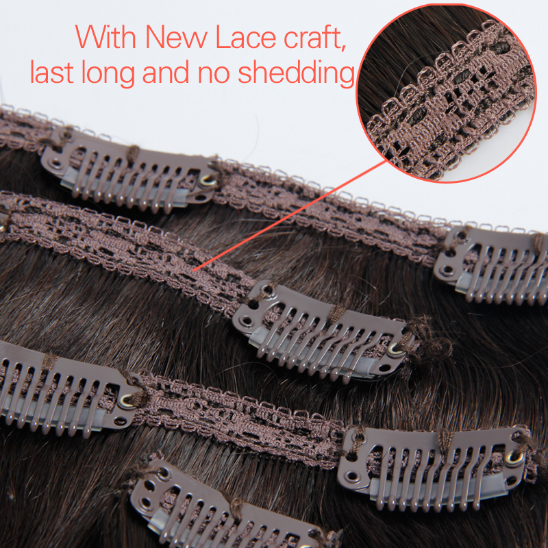 Clip In Human Hair Extensions Brazilian Straight Light Brown Full