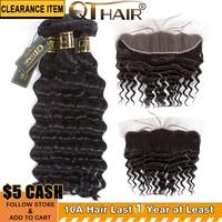 QT Brazilian Loose Deep Wave Bundles With Closure 13x4 Frontal 3 or 4 Bundles With Closure Swiss Lace Remy Human Hair Weave