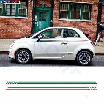 Autocollants le corps de la porte Fiat 500 | Rayures du drapeau italien, lignes de taille de voiture, autocollant personnalisé, accessoires de carrosserie automobile pour Fiat