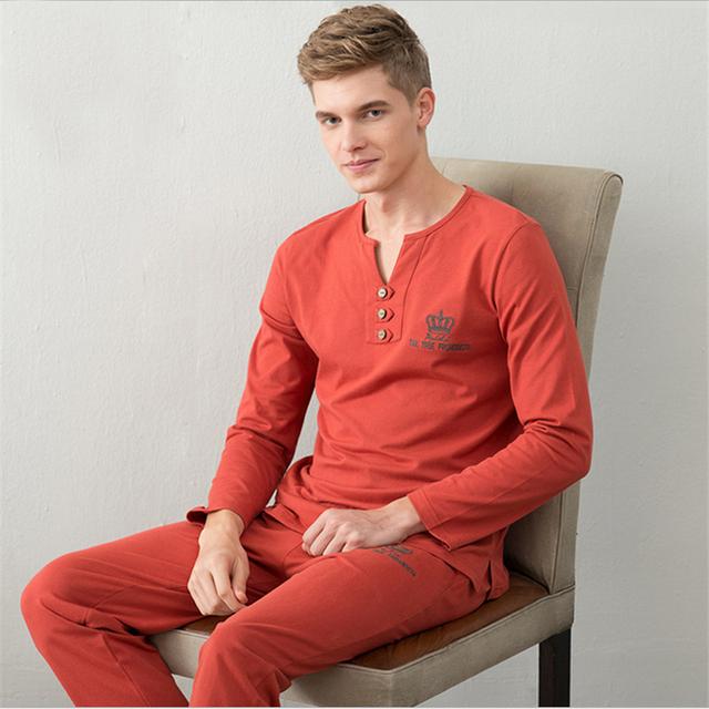 Novos Conjuntos de Pijama de algodão dos homens novos de verão seção Fina de mangas Compridas Com Decote Em V Simples desgaste Doméstico casual Sólidos
