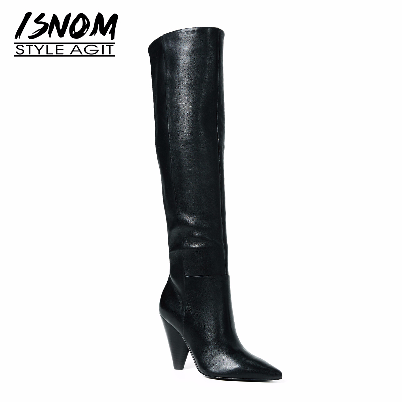 ISNOM Plus Size 32-45 Cow Leather Knee High Women Boots Pointed Toe Footwear Party High Heels Boot Shoes Woman 2018 Winter New 2016 women knee high boots leather winter boots pointed toe zip casual shoes women high heels big size 32 45 black boots woman