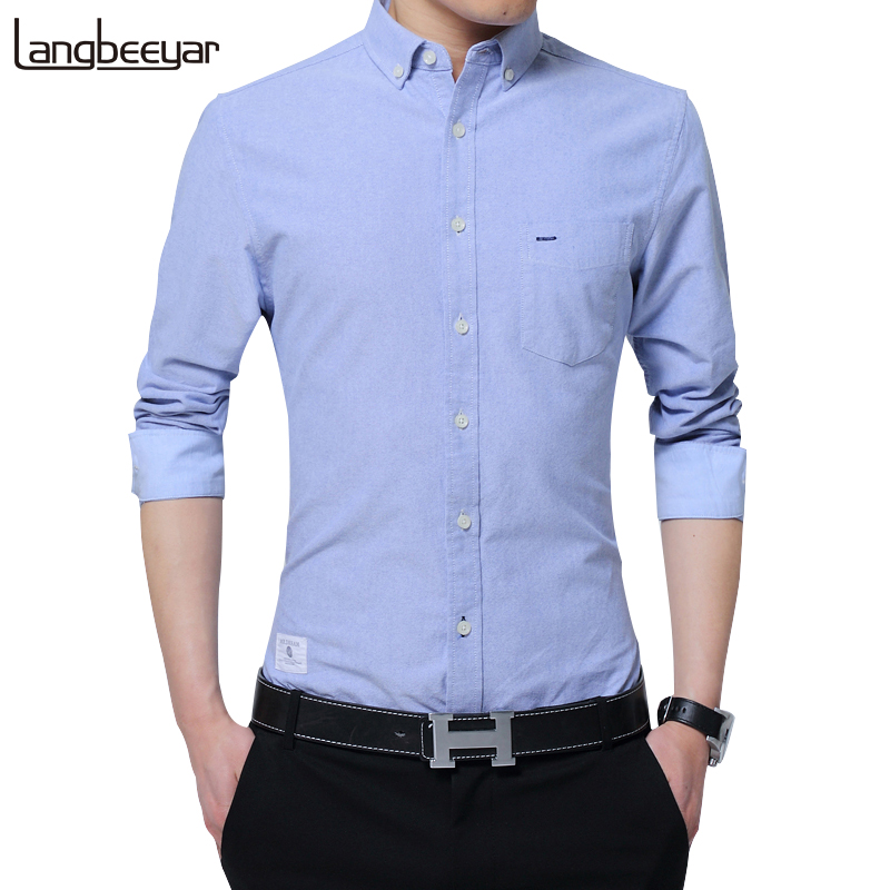 2019 New Fashion Brand Clothing Men's Shirts With Long Sleeves Solid Color Shirt Slim Fit Cotton Casual Social Shirt Men M-4XL