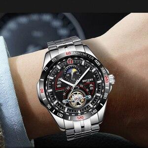 Image 5 - BOYZHE automatyczny mechaniczny zegarek męski modny top marka sport zegarki Tourbillon faza księżyca ze stali nierdzewnej Relogio Masculino