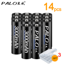 14 pieces 100%  Original PALO 1,2V AA rechargeable batteries 3000 mAh 2A batteries Ni-mh rechargeable battery for flashlight