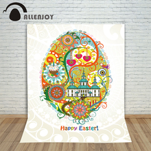 Allenjoy photography backdrops Happy Easter Eggs colorful flowers background for photos Photo background for photo studio