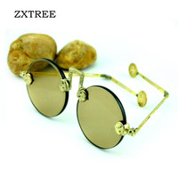 ZXTREE Vintage Round Sunglasses Men Unisex Metal Frame Flat Mirror Crystal Stone Design China Features Decoration