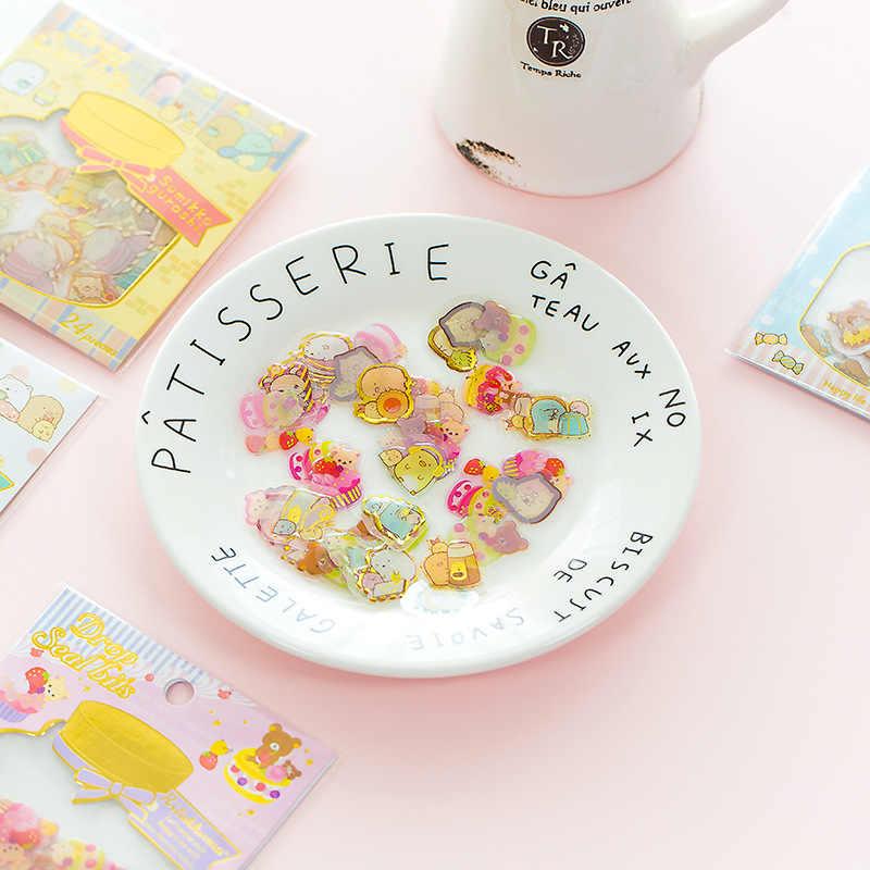 24pcs/Pack Sumikko Gurashi Rilakkuma Gold Stamping Decorative Sticker Dairy Album DIY Craft Stick Label