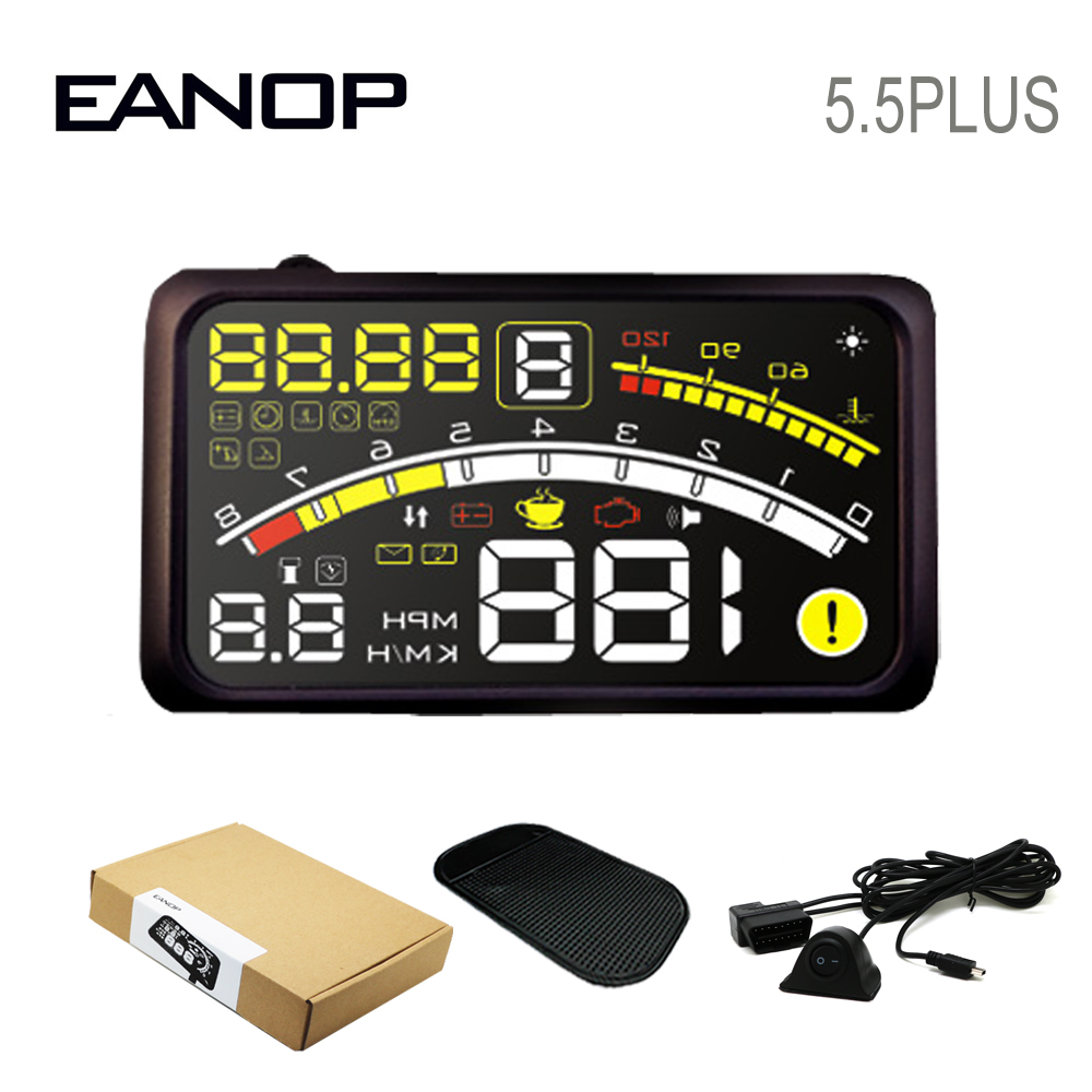EANOP Car HUD Head-up Display Car Speed Projector OBD2 Digital Speedometer for Automobiles Citroen c4 Mazda 3 ford focus 2 etc gorst car automobiles intake exhaust pressure sensor for ford focus galaxy jaguar xj land rover mazda 3 volvo 3m5a 5l200 ab
