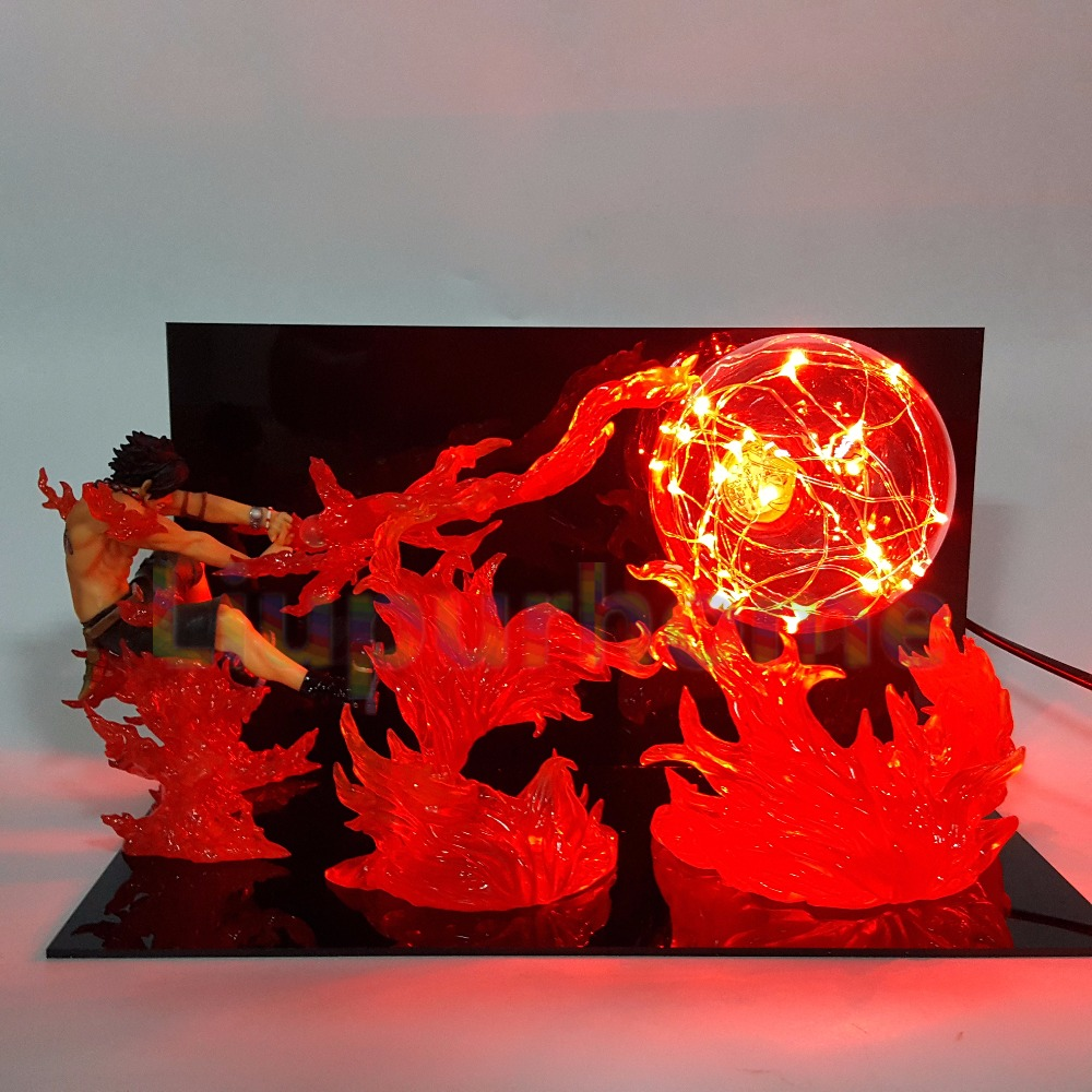 One Piece ACE Fire Ball Led Night Lights One Piece Anime Luffy Sabo Led Table Lamp Christmas Decor one piece ace fire ball diy led night lights one piece anime luffy sabo led table lamp christmas decor action figure