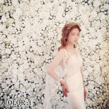 40x60cm Artificial Flower Board Wedding Decoration Background Champagne Silk Rose Fake Hydrangea Wall 24pcs