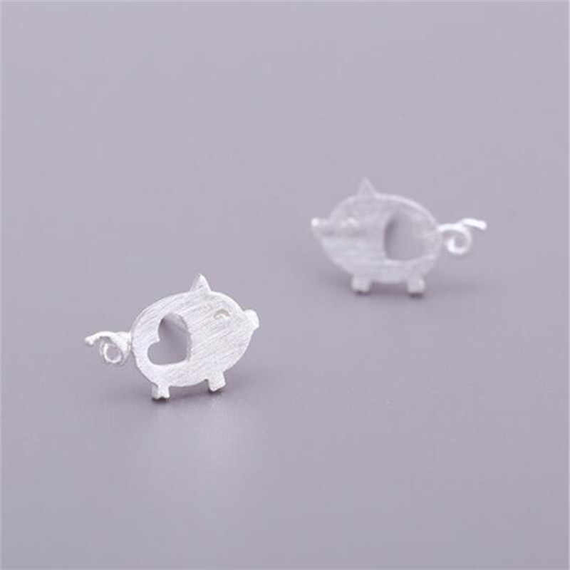 925 sterling silver Hollow Heart Pig Stud Earrings for Women Elegant Wedding Jewelry pendientes Brincos eh908