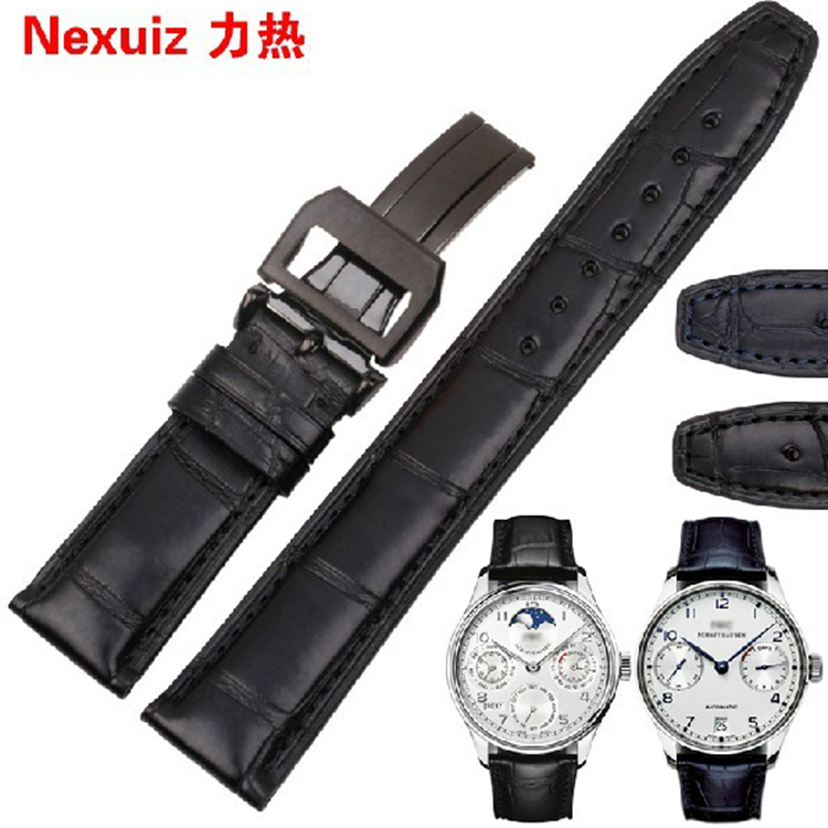 Top Grade Alligator Leather Watchband straps with brand folding buckle clasp Black deployment  20mm 21mm 22mm watch straps with silver black deployment clasp watchband genuine leather bracelet for men women watches 20mm 21mm 22mm hot sell