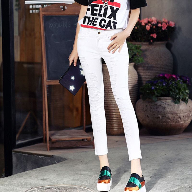 2016 new American apparel mom jeans white jeans ripped jeans for women plus size jeans woman