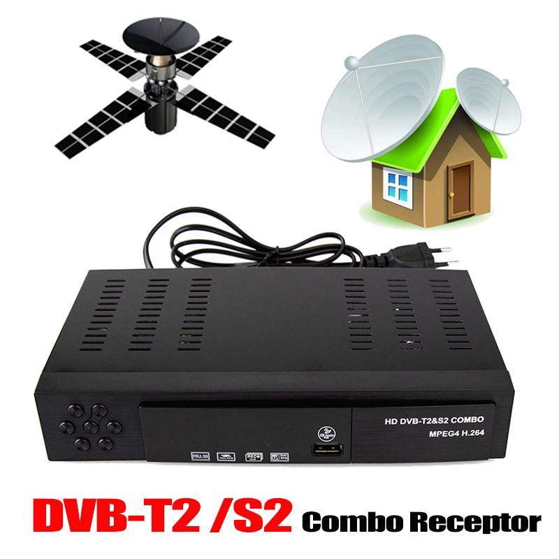 DVB-T2 Receptor Satellite TV Receiver Support DVB-S2 DVB-T2 Tuner Biss key Decoder H.264 1080p TV Digital FTA Satellite Receiver wholesale freesat v7 hd dvb s2 receptor satellite decoder v8 usb wifi hd 1080p support biss key powervu satellite receiver