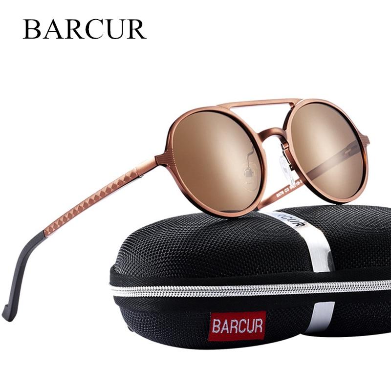 BARCUR Vintage aluminio magnesio Sun vidrio hombres polarizadas gafas de sol redondas Steampunk Shades marca diseñador gafas