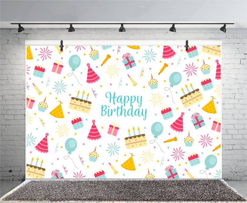 Laeacco Happy Birthday Cartoon Cake Ballon Scene Baby Photography Background Customized Photographic Backdrops For Photo Studio