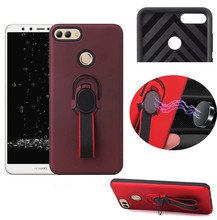 For Huawei Y9 2018 2019 Car Bracket Ring Magnetic Silicone Protective Case Y6 Pro Prime Rugged Armor Shcokproof Cover