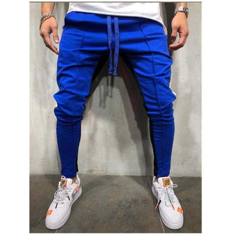 Новые осенние мужские повседневные облегающие брюки, спортивный костюм, брюки в полоску для бега, тонкие длинные спортивные штаны - Цвет: blue