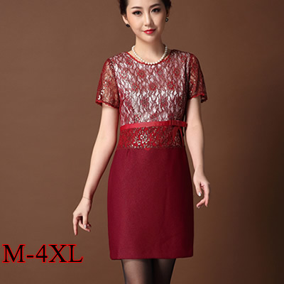 7611e9010a Mother Dresses Large size Short Sleeved Summer Dresses Women 2016 New  High-grade Mother Of the Bride Lace Dresses