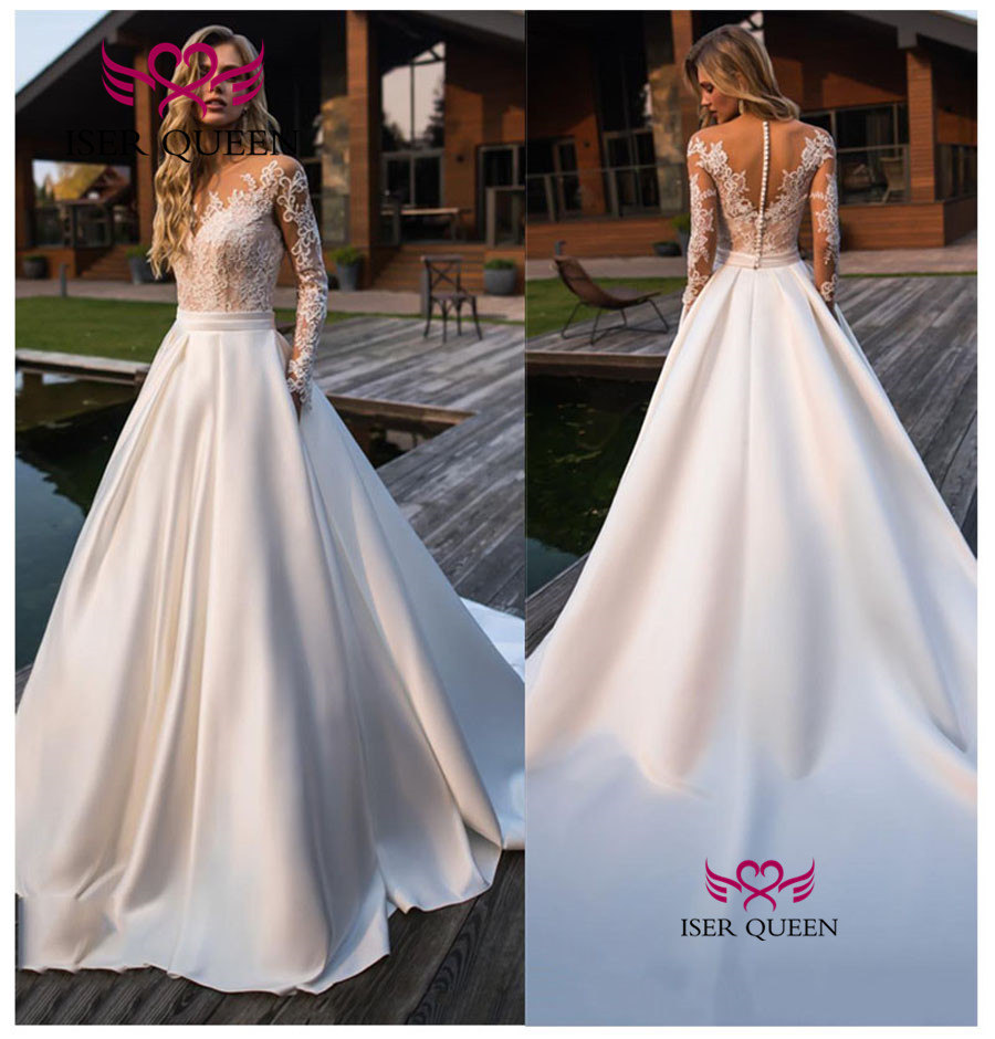 Long Sleeves Satin Wedding Dress 2019 New Illusion Back Lace Vintage Wedding Dresses A Line Arabic Bridal Gowns China W0580