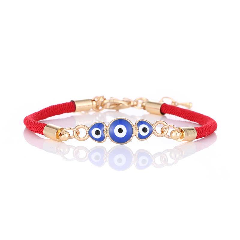 Bracelet à breloques en forme de coeur bleu mauvais œil rouge chaîne fil corde Bracelet pour femmes hommes mauvais œil bijoux cadeaux