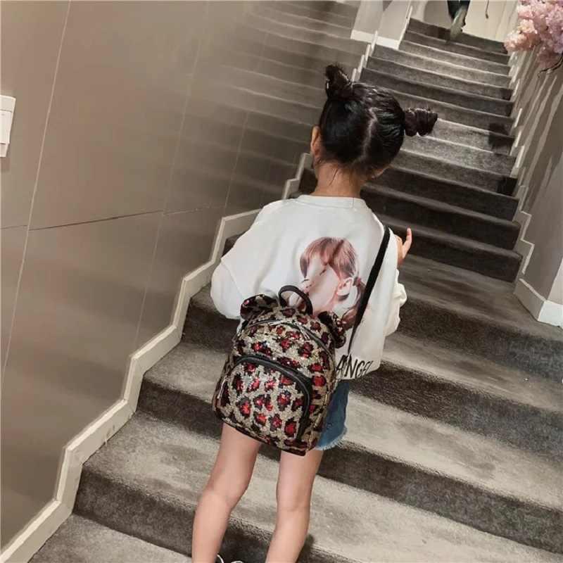 Женский леопардовый Блестящий рюкзак с блестками 2019, детские сумки для детского сада, школы для девочек-подростков, женские сумки, Детская сумка Escolar