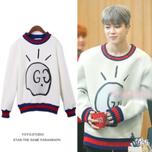 kpop BTS JIMIN cotton white Round Collar women hoodies korean Bangtan Boys loose Harajuku Long sleeve sweatshirts k-pop clothes
