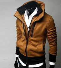2014 HOT autumn new free shipping men coat Korean brocade hit color mosaic hooded slim Jacket Blazer