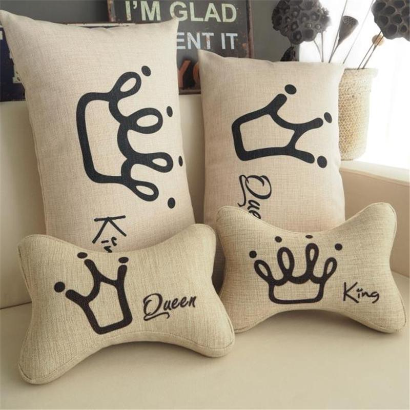 King And Queen Crown Couples Wedding Room Almofadas Decorative Throw New King And Queen Decorative Pillows