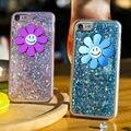 Kisscase para iphone 6 6 s 7 plus cubierta del silicio del caso del brillo sonrisa de girasol coque cajas del teléfono para iphone 7 6 6 s suave accesorios